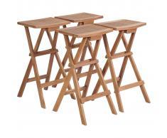 vidaXL Taburetes plegables de bar 4 unidades madera de teca maciza