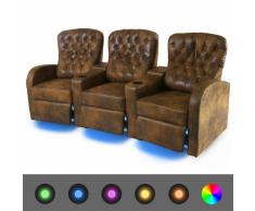 vidaXL Sofá reclinable LED 3 plazas de cuero artificial marrón