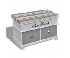 vidaXL Banco baúl de madera y cojin gris, con cajones