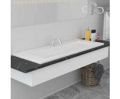 vidaXL Lavabo encastrado de cerámica blanco 101x39,5x18,5 cm