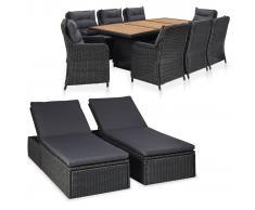 vidaXL Juego de muebles de jardín 11 piezas ratán sintético negro