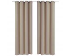 vidaXL 2 cortinas oscurecedoras con anillas blanco crema blackout 135x245cm