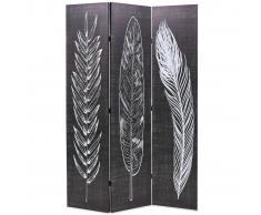 vidaXL Biombo divisor plegable 120x180 cm plumas blanco y negro
