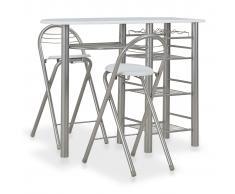 vidaXL Mesa y taburetes de cocina y estantes de madera y acero blanco
