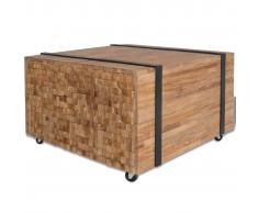 vidaXL Mesa auxiliar de madera de teca 60x60x38 cm