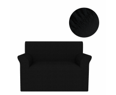vidaXL Funda elástica para sofá negra piqué