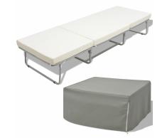 vidaXL Cama/taburete plegable con colchón acero 200x70 cm