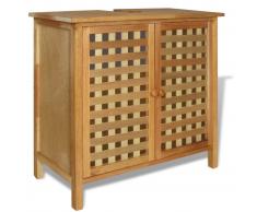 vidaXL Mueble de lavabo madera maciza nogal 66x29x61 cm