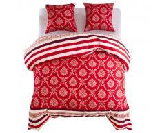 vidaXL Funda nórdica 3 piezas diseño a rayas 240x220/60x70 cm rojo