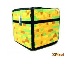 Xpixel Cojin Pixel Cubo de Peluche - Cofre del Tesoro