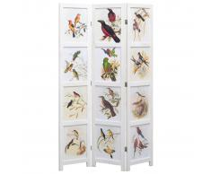 vidaXL Biombo divisor de 3 paneles pájaros blanco 105x165 cm