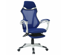 vidaXL Silla de oficina reclinable con reposapies tela blanca y azul