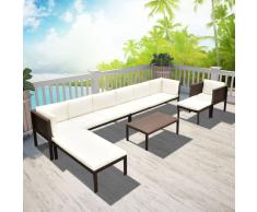 vidaXL Conjunto de muebles exterior 24 piezas poli ratán marrón
