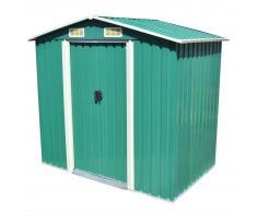 vidaXL Caseta de jardín de metal 204x132x186 cm verde