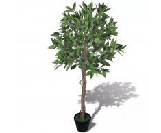 vidaXL Árbol de laurel artificial con maceta, 120 cm de alto