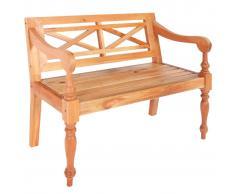 vidaXL Banco Batavia de madera maciza de caoba marrón 98 cm