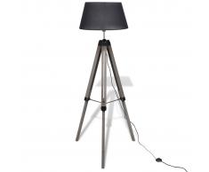 vidaXL Lámpara de pie ajustable de madera tipo trípode con pantalla negra
