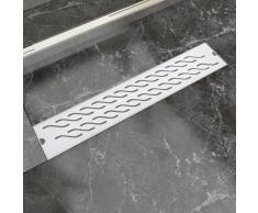 vidaXL Desagüe lineal de ducha ondas 630x140 mm acero inoxidable