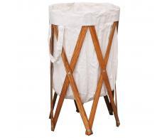 vidaXL Cesto para colada plegable madera y tela color crema