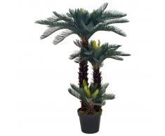 vidaXL Planta artificial palmera cica con macetero 125 cm verde