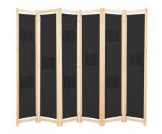 vidaXL Biombo divisor de 6 paneles de tela negro 240x170x4 cm