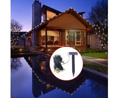 vidaXL Luces Solares De Cuerda Del LED Blanco Cálido Decoración De Navidad