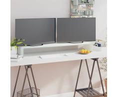 vidaXL Soporte para TV/Elevador monitor cristal blanco 110x30x13 cm