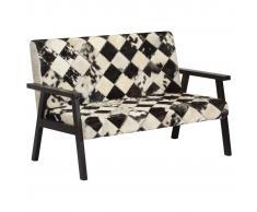 vidaXL Sofá de 2 plazas cuero auténtico de cabra blanco y negro