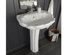vidaXL Lavabo de pie de cerámica blanco 580x510x200 mm
