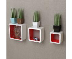 vidaXL 3 cubos estantes exhibidores flotantes de tablero DM blanco-rojo