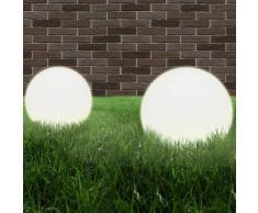 vidaXL Juego de lámparas de bola LED 2 piezas esféricas 40 cm PMMA