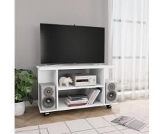 vidaXL Mueble de TV con ruedas aglomerado blanco 80x40x40 cm