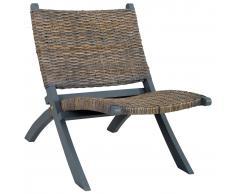 vidaXL Silla de ratán kubu natural y madera maciza de caoba gris