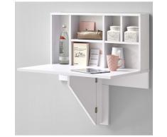 FMD Mesa de pared de hoja plegable con estante blanca 658-002