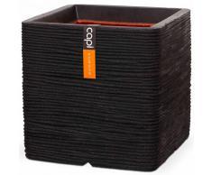 Capi Maceta Nature Rib cuadrada 30x30 cm negra PKBLR902