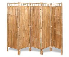 vidaXL Biombo divisor 5 paneles bambú 200x160 cm