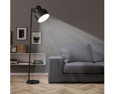 vidaXL Lámpara de pie de metal negra E27
