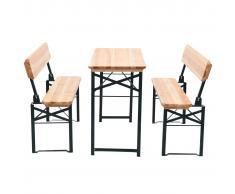 vidaXL Conjunto de mesa plegable y bancos 3 piezas madera abeto