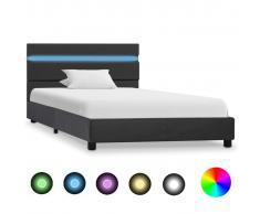 vidaXL Estructura de cama con LED de cuero sintético gris 100x200 cm