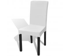 vidaXL Funda elástica para sillas con respaldo, 6 piezas, Blanco