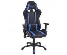 vidaXL Silla de escritorio Racing reclinable de cuero artificial azul