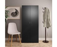 vidaXL Mueble zapatero de aglomerado negro 80x35,5x180 cm