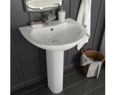 vidaXL Lavabo de pie de cerámica blanco 520x440x190 mm