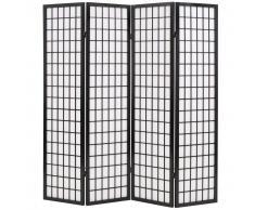 vidaXL Biombo plegable con 4 paneles estilo japonés 160x170 cm negro