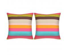vidaXL Cojines decorativos de rayas anchas lona 45x45 cm 2 unidades
