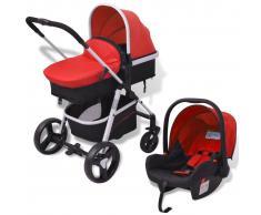 vidaXL Cochecito de bebé 3 en 1 rojo y negro aluminio