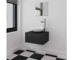 vidaXL Set muebles para baño con lavabo y grifo 4 piezas Negro