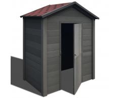 vidaXL Caseta de almacenamiento de jardín WPC 178x118x237 cm gris