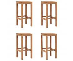 vidaXL Taburetes de cocina 4 unidades madera maciza de teca
