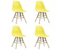 vidaXL Sillas de comedor 4 unidades amarillo